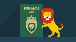 En ritad bild av en lagbok och ett lejon