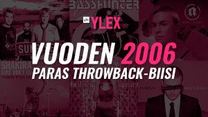 """Kuvassa teksti """"Vuoden 2006 Paras Throwback-biisi"""" ja sen taustalla kyseisen vuoden kappaleiden kansista."""