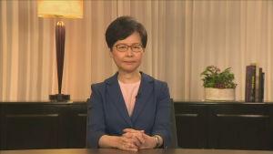 Carrie Lam berättade för folket i Hongkong att det omstridda lagförslaget dras tillbaka. 4.9.2019.
