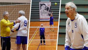 Kollage med tre bilder från veteranvolleybollaget Sikariporras matcher.