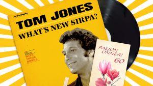 Kuvituskuva, keltaväritteisessä kuvassa levykansi, jossa Tom Jonesin kuva  ja onnittelukortti Paljon onnea! 60.