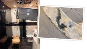 Alexandran kylpyhuone ja pilalle mennyt vaate