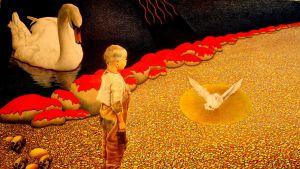 Willem Krijgsman, Vid Tuonela älv I: en pojke star på färgglad sand vid havet och tittar på en duva. bakom sig finns dödskallar och en svan och stenar vid stranden som är rödfärgade.