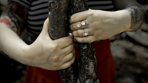 Naisen kädet pitävät kiinni ohuista puiden rungoista, jotka ovat kietoutuneet toisiinsa.