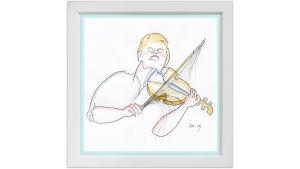 Lassi Rajamaan piirros viulutaiteilija Pekka Kuusistosta.