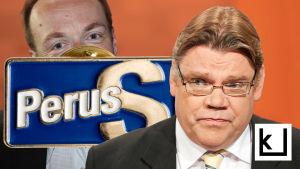 Timo Soini etualalla, hänen takanaan iso PS-pinssi, jonka takaa kurkistaa Jussi Halla-aho.