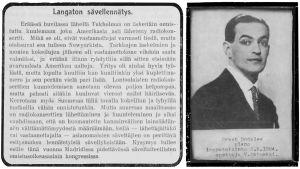 Suomen musiikkilehden pieni juttu varhaisesta radiotoiminnasta eli langattoman konsertin kuuntelusta 1923. Toisessa kuvassa pianisti Orest Bodalew.