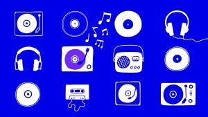 Piirrettyjä levysoittimia, kuulokkeita ja radio.