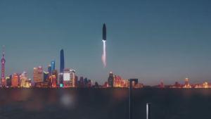 Kuvamanipulaatio, jossa Starship-alus on nousemassa ilmaan Pekingistä.
