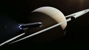 Piirroskuva Starshipistä lennolla Saturnukseen.