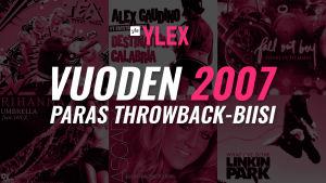 """Kuvassa teksti """"Vuoden 2007 paras Throwback-biisi"""" ja sen taustalla kyseisen vuoden kappaleiden albumikansia."""