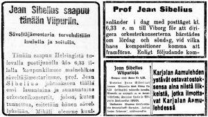 Lehtileikkeitä, joissa kerrotaan Sibeliuksen saapumisesta Viipuriin 25. huhtikuuta 1923.