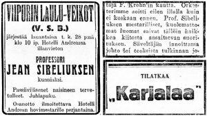 Lehti-ilmoitus, jossa kerrotaan Sibeliuksen kunniaksi järjestettävästä illanvietosta Hotelli Andréassa Viipurissa. Huhtikuu 1923.