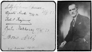 Nimikirjoituksia Felix Krohnin vieraskirjasta 29. marraskuuta 1923. Toisessa kuvassa karikatyyri Boris Sirposta johtamassa orkesteria.