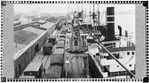 Junia, nostureita ja laivoja Viipurin eteläsatamassa 1930-luvulla.