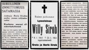 Karjala-lehden juttu Willy Sirobia kohdanneesta onnettomuudesta sekä hänen kuolinilmoituksensa 24.5.1931.