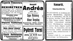Ilmoituksia Karjala-lehdessä.