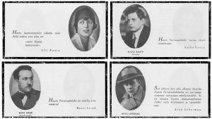 Tunnettuja henkilöitä Viipurissa sijainneen Havin tehtaan mainoskirjassa: Elli Ranta, Sulho Ranta, Boris Sirob ja Arvo Lehesmaa.