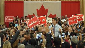 Valkampanj i Kanada. Justin Trudeau