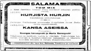 Elokuvateatteri Salaman mainos.