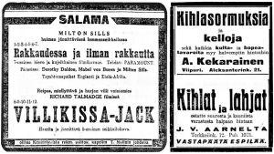 Sanomalehti-ilmoituksia: elokuvia, kihloja.