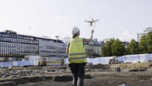 arkeologiska utgrävningar i Åbo, torget, fotografering