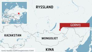 Karta över Sibirien och sydliga grannländer till Ryssland