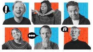 Näsdagen 2019 promobild. Från vänster: Oskar Pöysti, Antonia Atarah, Patrick Henriksen, Susanne Marins, Tobias Zilliacus, Åsa Wallenius