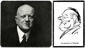 Kaksi eri kuvaa: Jean Sibelius vuonna 1923 sekä pilapiirros kauppaneuvos Sellgrenistä vuodelta 1930.attupäisiä miehiä Viipurin kadulla.