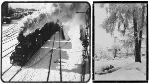 Talviset kuvat Viipurista: höyryjuna lähdössä asemalta ja Viipurin linna.