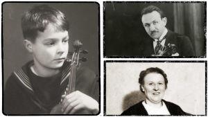 Heimo Haitto noin 1937–1939, Boris Sirpo 1929 ja Greta Sirpo 1939.