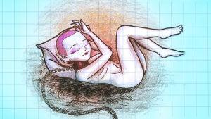 en ritad bild på en kvinna som ligger på rygg och har ett brett halsband och kedja hängande från sin hals.