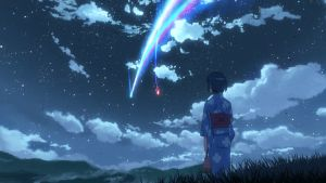 Mitsuho katselee öisellä taivaalla lentävää pyrstötähteä japanilaisessa animaatioelokuvassa Your Name.