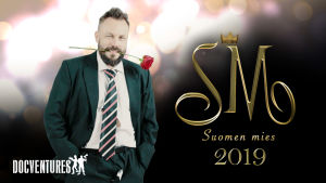 Riku Rantala puvussa ruusu suussa. Oikealla teksti SM - Suomen mies 2019