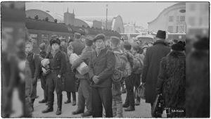Evakkoja Viipurin asemalla 22. marraskuuta 1939.