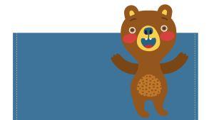 Pikku Kakkosen tulostettava paperipussi karhun kuvalla