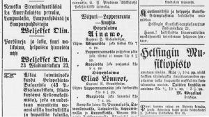 Ilmoituksia Uudessa Suomettaressa 15. syyskuuta 1882.