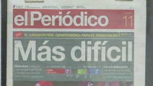 Tidningsrubrik efter parlamentsvalet i Spanien
