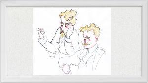 Lassi Rajamaan piirros kapellimestari Robert Kajanuksesta ja säveltäjä Jean Sibeliuksesta.