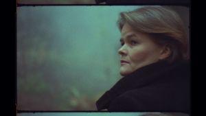 Toimittaja Silja Sahlgren-Fodstad katsoo sivullepäin sumuisessa metsässä