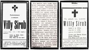 Viipurissa huhtikuussa 1931 kuolleen Willy Sirobin hautajaisilmoitukset.