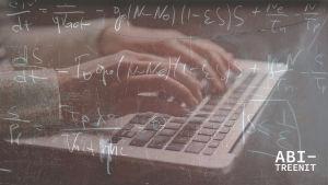 Tietokonetta näpyttelevät kädet ja matematiikan kaavoja