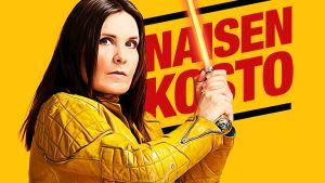 Keltaisessa kuvassa lukee punaisella Naisen kosto - jaa kostofantasiasi.