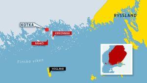 Kotkan edustan saarien ja Suursaaren sijainnin kuvaava kartta.