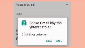 Kuvakaappaus Gmail-sovelluksesta, sovellus haluaa käyttää puhelimen Yhteystietoja.