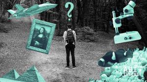 """Henkilö seisoo tienhaarassa, pään päällä on kysymysmerkki ja ympärillä erilaisia """"valintoja"""""""