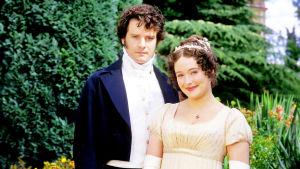Colin Firth on Mr. Darcy ja Jennifer Ehle on Elizabeth Bennet sarjassa Ylpeys ja ennakkoluulo