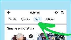 Kuvakaappaus Facebookista: Lista Facebookin käyttäjälle ehdottamista ryhmistä.