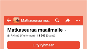 Kuvakaappaus Facebookista: Retkipaikka-ryhmän etusivu ja Liity ryhmään -painike.u ja liity ryhmään -painike