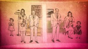 Piirroskuva, jonka eri puolilla eri perheet, mutta samannäköiset lapset